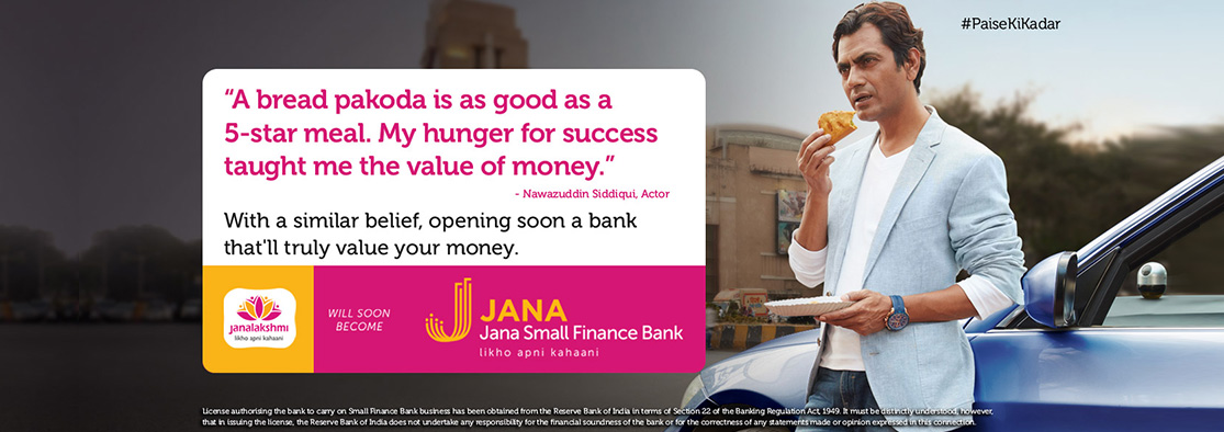 Nawazuddin Siddiqui brand ambassador of Jana Small Finance Bank